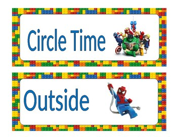 Daily Schedule Cards Lego superhero theme