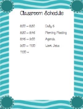 Schedule Tempate