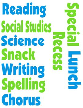 Schedule Words for Bulletin Board