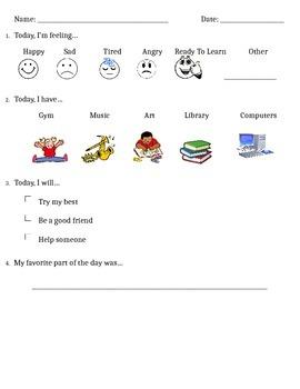 Schedule and Behavior Checklist