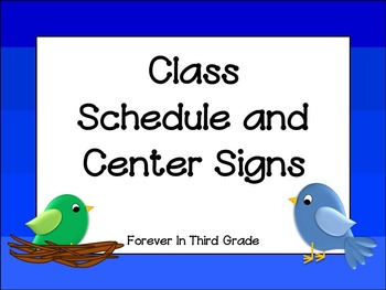 Schedule Cards -Birds
