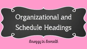 Schedule and Supplies Headings