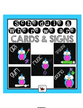 Schedule and Where We Are Cards (with some editable options) Owl Themed