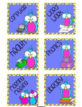 Schedule and Where We Are Cards (with some editable options) Polka Dots & Owls