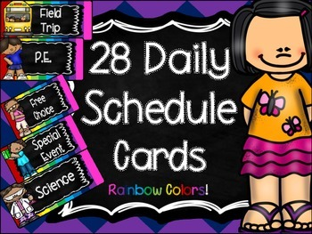 Schedule cards (Rainbow Theme)