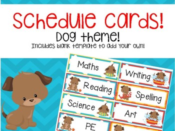 Schedule cards- dog theme