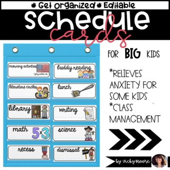 Schedule cards for BIG kids editable