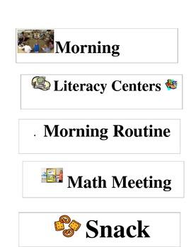 Schedule cards for Kindergarten