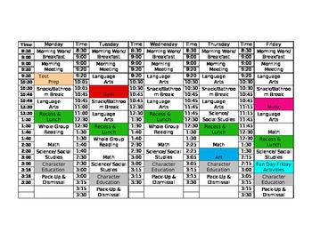 Schedule for the Classroom