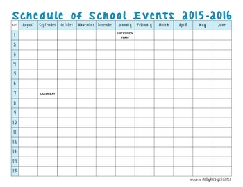 Schedule of School Events 2015-2016