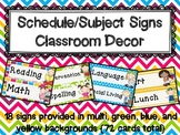 Schedule/Subject Signs Classroom Decor