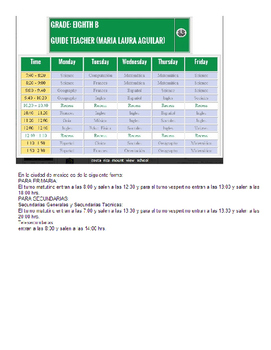 Schedules in different Spanish speaking countries