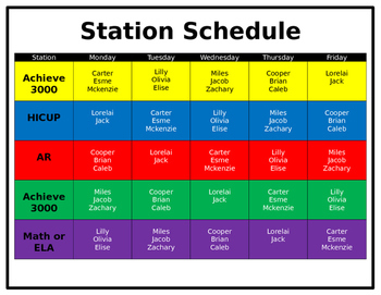 Scheduling Chart for Stations/Centers