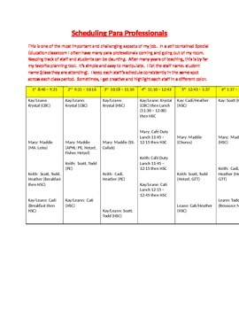 Scheduling Para Professionals