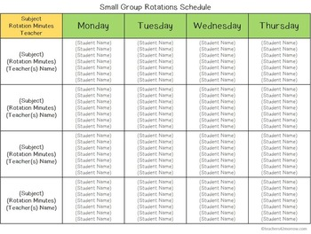 Scheduling for the Special Education Teacher TEMPLATES