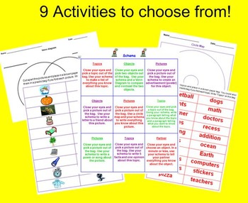 Schema Choice Board and Activities