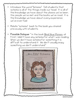 Schema Mini Lesson and Student Schema Printable: Making Reading Connections