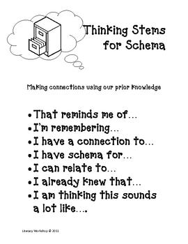 Schema Thinking Stems and Graphic Organizer