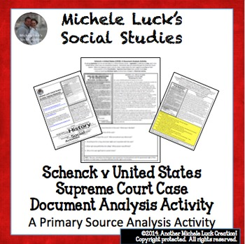 Schenck v United States 1919 Supreme Court Case Document Analysis Activity