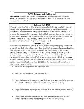Schenck v. United States Worksheet Bundle with Answer Key