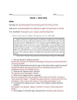 Schenck v. United States Worksheet with Answer Key