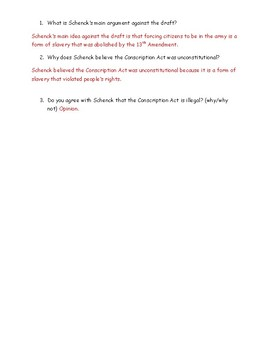 Schenck vs. United States: Schenck's Leaflet Worksheet and Answer Key