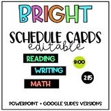 Schedule cards BRIGHT design *Editable*
