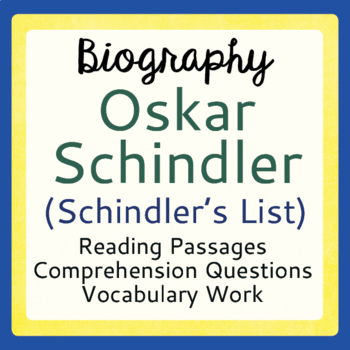 Holocaust Schindler's List Oskar Schindler Informational Texts Activities