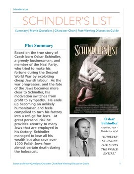 Schindler's List Movie Viewing Guide