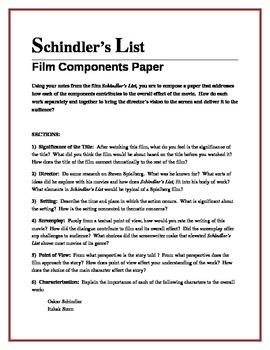 Schindler's List film components paper