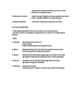 Schizophrenia Quick Review (Study Aid/Handout)