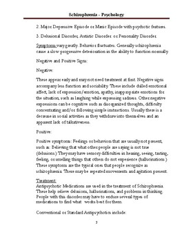 Schizophrenia Worksheet