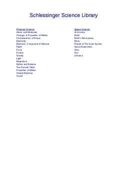 Schlesinger Physical Science Videos Checklist