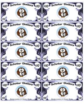 Scholar Dollars - Cartoon Owls - Classroom Money!
