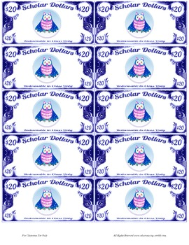 Scholar Dollars - Owls - Classroom Money!