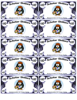 Scholar Dollars - Penguins - Classroom Money!