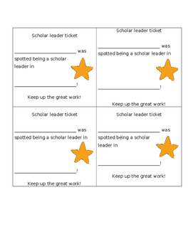 Scholar Leader Tickets