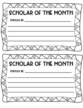 Scholar of the Month Voting Cards
