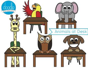Scholarly Animals at Desk