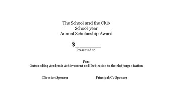 Scholarship information for Certificate