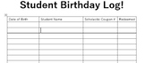 Scholastic Birthday Coupon Book Redemption Tracker