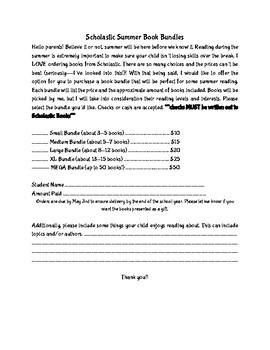 Scholastic Book Bundle Letter to Parents
