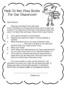 Scholastic Book Club Cover Letter- FREE!