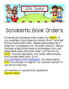 Scholastic Book Club Note