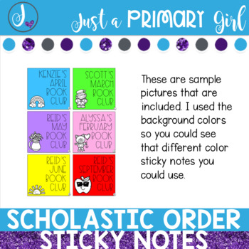 Scholastic Book Club Order Sticky