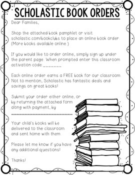 Scholastic Book Order Form Packet