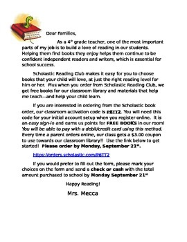 Scholastic Book Order Letter