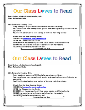 Scholastic Book Order Letter