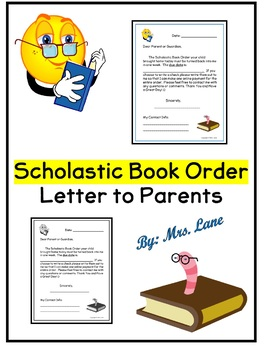 Scholastic Book Order Letter to Parents