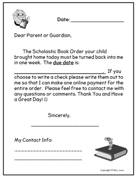 scholastic book order letter to parents by mrs lane tpt